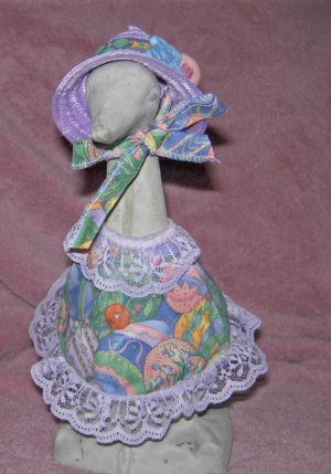 "Easter Pastel eggs with lavender lace and straw hat for 9"" upright lawn geese"