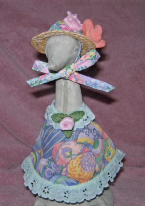 "Easter Pastel eggs with turquoise lace and straw hat for 9"" upright goose"