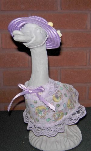 "Easter Lavender and white checked Easter dress for 9"" gosling or 11"" geese"