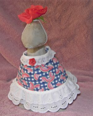 """Summer Watermelon fabric dress for 9"""" gosling cement geese"""