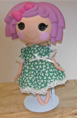 """Outfit for St. Patrick'c Day in green with white shamrocks for 13"""" LaLaLoopsy doll"""