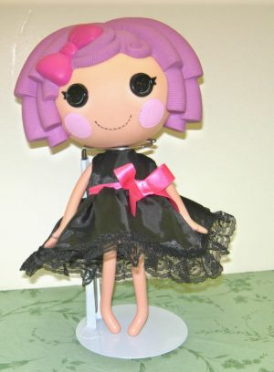 """Dress in black satin like fabric sleeveless with hot pink bow for 13"""" LaLaLoopsy doll"""