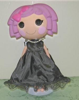 """Long dress in black satin like fabric with pearls for 13"""" LaLaLoopsy doll"""
