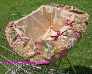 Shopping cart cover Victorian flowers inspired for toddler girls. Tote bag included.
