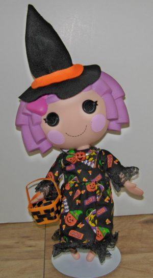 """Halloween fun dress with witch hat and trick or treat basket for 13"""" LaLaLoopsy dolls"""