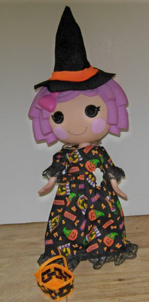 """Long dress with Halloween designs. Felt witch hat and trick or treat basket included for 13"""" LaLaLoopsy dolls"""