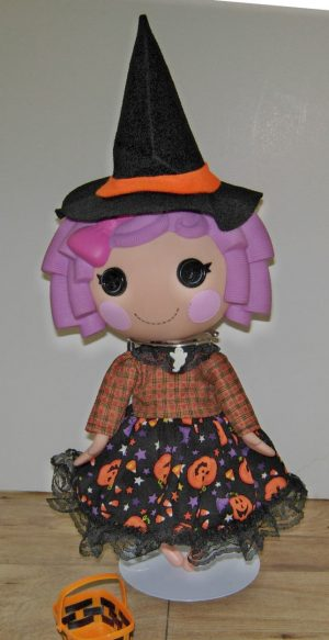 """Halloween dress in coordinating fabrics. Witch hat and trick or treat basket included for 13"""" LaLaLoopsy dolls"""