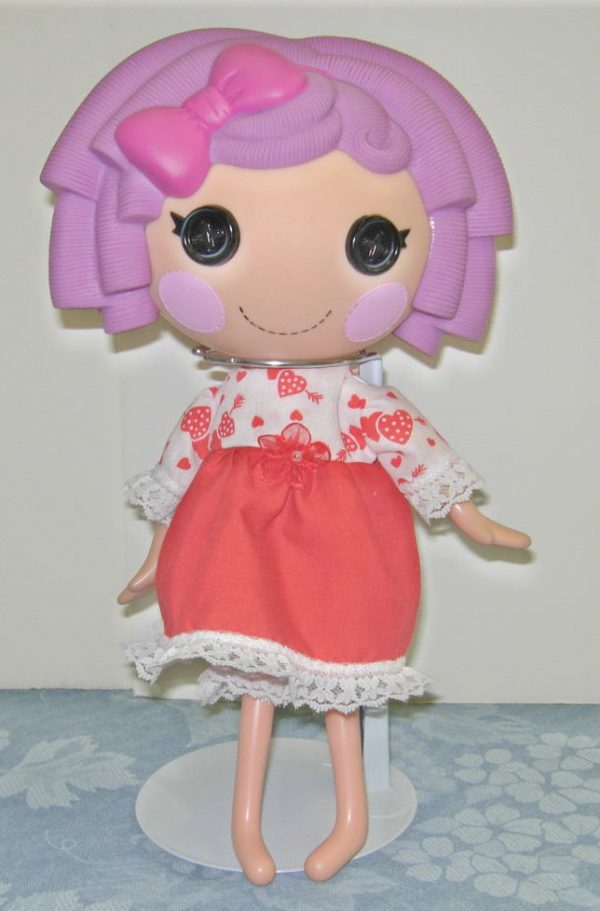"""2 piece Valentine's Day outfit for 13"""" LaLaLoopsy Doll"""