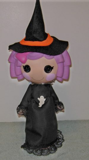 """Black witch outfit with witch hat for 13"""" LaLaLoopsy doll"""