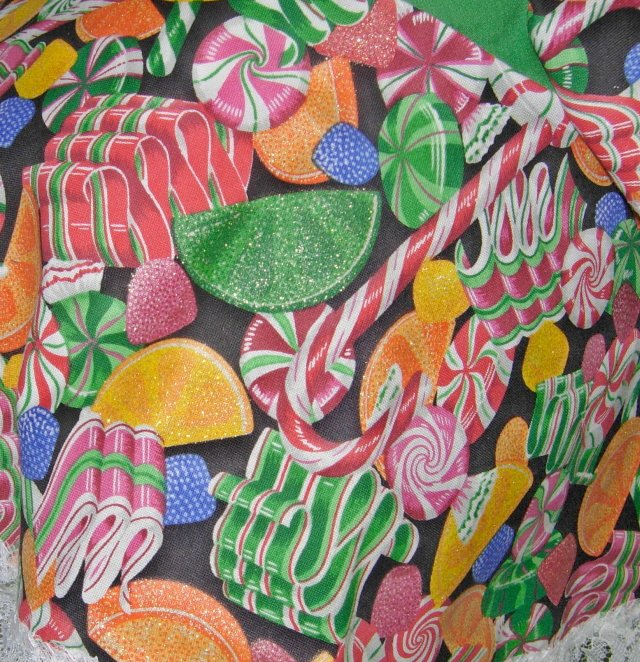 "Christmas Old Fashioned Christmas candies on an outfit for 24"" cement geese or plastic goose"
