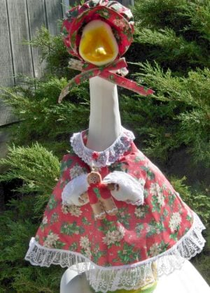 "Christmas Red dress with white flowers for 24"" cement goose"